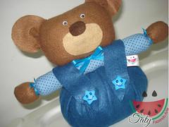 Peso de Porta (Taty Fazendo Arte) Tags: azul de infantil porta bebe beb quarto criana poa menino urso crianca peso ursinho decoraao
