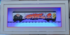 """""""Care 2"""" Framed in gloss White with optional track, double mount, and Blue LED's (Dulux1) Tags: graffiti gru minion graffititrain allcitytrain despicableme custompaintedtrains customgraffititrain"""