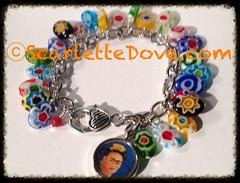 Frida Kahlo Glass Flower Charm Bracelet (Scarlette Dove) Tags: fridakahlo charmbracelet glassbeads mexicanfolkart