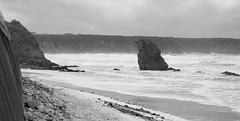 Cullen Bay - Stormy weather 1 B/W (Elisafox22 slowly catching up again!) Tags: sea wild blackandwhite colour bay scotland rocks waves aberdeenshire sony stormy gales seawall foam cullen rx100