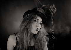 Smoking Ring Leader - Danni (HausVonEllit ) Tags: blackandwhite field forest vintage hair back chains corn woods sad circus smoke evil smoking creepy gloves crops clowns armstrong danni brushed pgs circushat elliottomkins elliotjtomkins hausvonelliot wwwhausvonelliot13tk