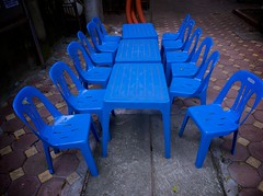 blue plastic chairs (noodlepie) Tags: blue chairs pavement vietnam plastic tables hanoi thebook