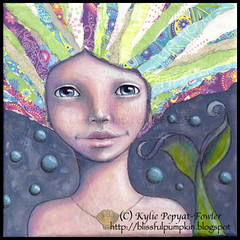 Mermaid Bubbles - Kylie Pepyat-Fowler (Kylie Fowler AKA: Blissful Pumpkin) Tags: blue girl collage portraits paper bigeyes rainbow artwork mixedmedia tail shell bubbles mermaid whimsical 8x8 howtodraw stretchedcanvas kyliefowler kyliepepyat kyliepepyatfowler blissfulpumpkin kyliefowlercom howtopaintbigeyedgirlskyliepepyatkyliepepyatfowler