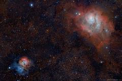 The Trifid and Lagoon nebulae, Messier 20 and Messier 8 (TheAstroShake) Tags: canon lagoon astrophotography m8 dslr vixen m20 trifid 550d Astrometrydotnet:status=solved Astrometrydotnet:id=nova168106