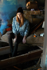 Jordan Smoke3 (lifeasalex) Tags: wood old blue house broken hat canon 50mm boots smoke down tights jordan couch jacket abandon indie denim lighter 18 beanie ankle clutter expansion