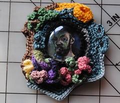 henri in freeform (Moon Rhythm) Tags: selfportrait thread brooch crochet cotton henrimatisse hooked freeform tenuous freeformcrochet crochetolay