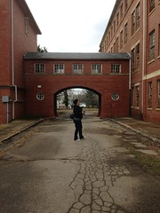 melissa in the archway. (amy hit the atmosphere) Tags: abandoned architecture hospital arch decay bricks colonial victorian haunted creepy spooky urbanexploration archway asylum ue mentalhospital urbex statehospital