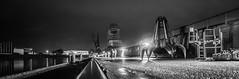 Night at the docks (GrünSoGrün) Tags: longexposure bw panorama night docks eos 350d harbor blackwhite pano wide kitlens wideangle bamberg