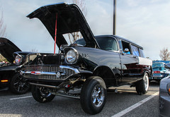 Wake Forest Cars & Coffee March 2017 (osubuckialum) Tags: 2017 cars carscoffee carshow march wakeforest nc northcarolina custom gasser 1957 57 chevy chevrolet black white 150 wagon hotrod ipiccy edit chrome blown engine show auto automobile raleigh