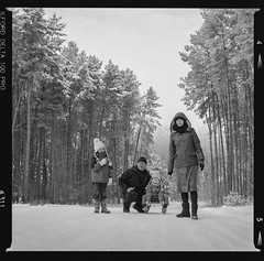 Bronica SQ-A-014-003 (michal kusz) Tags: bronica sqa ilford ddx v600 film medium format 120 squere poland monochromatic trees winter tree monochrome sledge forest family grandpa snow granddaughters delta 100