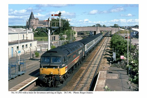 Elgin. 47.593 & train for Inverness. 30.7.90