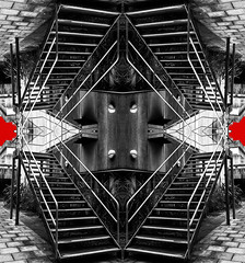 Abstract symmetry (Images Are Moments) Tags: • symmetry abstract imagery photo edited edit photoshop lightroom for sale hull east yorkshire buildings architecture lines composition within architectural landscape urban exploration urbex old town ancient history uk england high street long bright colours yellow red shade gradient sergej komkov images moments all rights reserved truss building structure triangle bridge tower