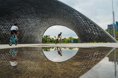 Puddle Reflections (elenaleong) Tags: gbb puddlegram puddlereflections elenaleong gardenbythebay thefutureofus cyclists reflections puddle framing streetcapture