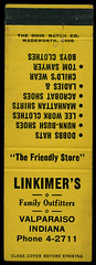 Linkimer's in Valparaiso, Indiana - Matchcover (Shook Photos) Tags: match matches matchbook matchbooks matchcover matchcovers smoke smoking advertise advertisement promotion promotional valparaisoindiana valparaiso indiana portercounty linkimers retail retailer departmentstore