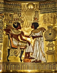 Closeup of One of King Tutankhamun's golden throne chairs with image of the pharaoh and his wife Ankhesenamun New Kingdom 18th Dynasty Egypt 1332-1323 BCE (mharrsch) Tags: throne chair pharaoh king ruler tutankhamun ankhesenamun burial tomb funerary 18thdynasty newkingdom egypt 14thcenturybce ancient discoveryofkingtut exhibit newyork mharrsch premierexhibits gold