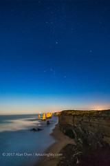 Orion and Sirius over Twelve Apostles (Amazing Sky Photography) Tags: orion sirius canismajor twelveapostles seastack cliffs australia greatoceanroad stars nightscape waves moonlight setting alberta canada