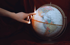 two minutes to midnight (lauren zaknoun) Tags: laurenzaknoun conceptual conceptualphotography dark darkphotography fantasy hands surreal surrealphotography fire surrealism antique vintage earth globe flames burning onfire resist notmypresident