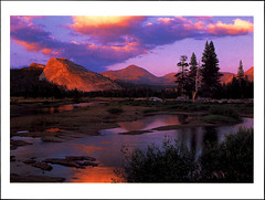 postcard - Yosemite, Tuolumne Meadows (Jassy-50) Tags: postcard yosemitenationalpark yosemite nationalpark park unescoworldheritagesite unescoworldheritage unesco worldheritagesite worldheritage whs sunset mountain rock tuolumnemeadows meadow tuolumneriver river lembertdome