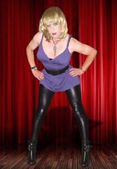 Lean but not mean :-) (Irene Nyman) Tags: irenenyman dutch crossdresser tgirl transvestite pvc leggings purple tunic bob hairstyle ankleboots spikes