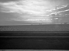 Trail (ancientlives) Tags: chicago illinois usa travel landscape lakemichigan lakefronttrail lakeshore lake shore beach oakstreetbeach oakstreet evening sunset clouds mono monochrome blackandwhite bw wednesday april 2017 spring