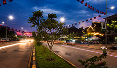 20170425_1179 Sunset on the Road No. 6 (otaphoto16) Tags: sunset road street tree evening sky longexposure twilight canon70d canonphotography city town light bluehour siemreap cambodia otaphototours
