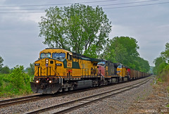 """Northbound Empty Coal Train in Wolcott, KS (""""Righteous"""" Grant G.) Tags: cnw sp southern pacific train trains up union railroad railway locomotive west north northbound ge power kansas city fallen flag"""