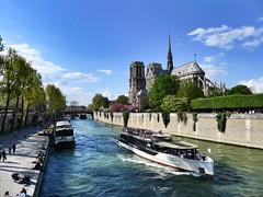 Île de la Cité, Paris (Patnrita) Tags: banks berges boat ship bateau seine notredame france paris îledelacité