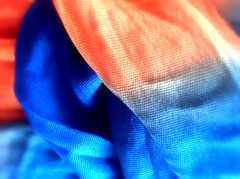 Orange and Blue - HMM! (Some Strange Lady) Tags: scarf macro macromondays ipad orangeandblue