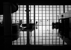 All the lonely people (Mister Blur) Tags: airport t2 guadalajara aeropuerto wetravel thelighttraveler blackandwhite windows passenger lonely people blancoynegro bw iphone se iphoneography