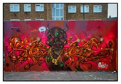 STREET ART by SPORE (StockCarPete) Tags: spore artistspore streetart londonstreetart wallart graffiti spraycanart aerosolart stockwellhalloffame monster
