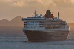 Queen Mary 2 arriving at Dawn - Tortola,  BVI (bvi4092) Tags: nikon d300s photoshop nikkor nikonafsvr70300f4556gifed outside outdoor travel bvi britishvirginislands caribbean westindies sea cruiseship ship transportation dawn qm2 queenmary2 island roadtown roadhabour