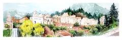 Saint Guilhem le désert - Languedoc - France (guymoll) Tags: saintguilhem saint guilhem du désert languedoc aquitaine france moleskine panoramique panoramic roman aquarelle watercolour watercolor