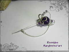 DSCN9613 (Margherita-art) Tags: pin pins brooch brooches handmade jewel jewels jewelry butterfly butterflies purple amethyst heart hearts chain copper silver plated spring fantasy