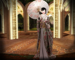 Geisha girl and parasol in a palace of the rising sun (monbelange.carter) Tags: geisha zenith japan bento kimono catwa maitreya