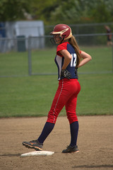 Runner On Base (swong95765) Tags: game base woman female lady player softball league runner