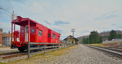 Avella, PA Depot (brutus61534) Tags: railroad caboose tracks depot station wide angle clouds landscape trees bo fence