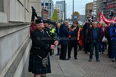 Lone piper plays (James O'Hanlon) Tags: international workers memorial day internationalworkersmemorialday service liverpool 2017 malcolmkennedy deputy mayor cllr malcolm kennedy wreath public pier head georges dock mersey tunnel