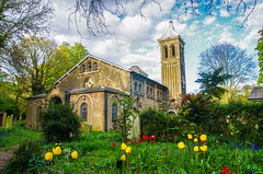 St peters in the forest rear quarter view (I was blind now I see!) Tags: churchyard church tower building windows bell trees roof flowers grass branches leyton london graveyard landscape bushes yellow blue red green stone bricks