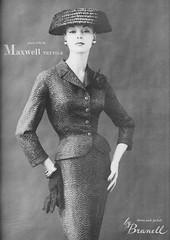 Maxwell Textile for Branell 1956 (barbiescanner) Tags: fashion vintagefashion 50s 50sfashion vintageads vintage retro maxwelltextile branell jeanpatchett