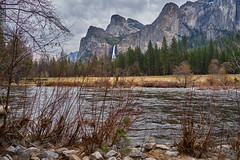 Along the River (AgarwalArun) Tags: landscape scenic nature views mountains cliffs yosemite yosemitenationalpark nationalpark granitecliffs elcapitan sierranevada californiapark halfdome snowpeaks snow snowcovered sony7m2 sonyilce7m2 waterfall