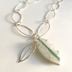 Tourmaline in Quartz, handmade chain.