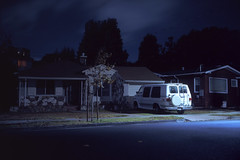 (patrickjoust) Tags: richmond california white van house fujicagw690 fujichromet64 6x9 medium format 120 90mm f35 fujinon lens fuji chrome slide e6 color reversal expired discontinued tungsten balanced film cable release tripod long exposure night after dark manual focus analog mechanical patrick joust patrickjoust san francisco area east bay northern ca usa us united states north america estados unidos auto automobile vehicle parked