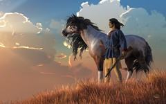 Guardians of the Plains (deskridge) Tags: warrior nativeamerican indian brave western american horse mustang steed rifle roan painthorse attacking bravery battlecry warcry navajo comanche sioux wildwest americanwest tonto geronimo sittingbull danieleskridge eskridge remington russell catlin bierstadt moran