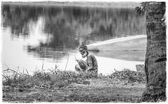 A man alone with himself (Ramalakshmi Rajan) Tags: nikond5000 nikon nikkor18140mm bangalore lake blackandwhite bw blackwhite
