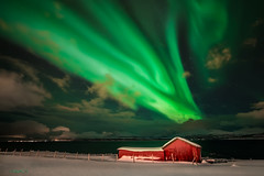 The Green Storm. (darklogan1) Tags: snow cabin aurora nothernlights green tromso troms norway nightphotography clouds logan darklogan1