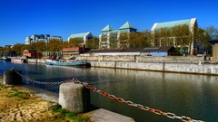 The Docks Brussels (Ⓨ a s m i n e Ⓗ e n s +4 900 000 thx❀) Tags: belgium belgique bruxelles brussels water river dock hdr boat péniche hensyasmine sky blue bluesky 7dwf landscape port haven leica leicaq