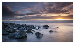 Letterbox of Light (Dave Fieldhouse Photography) Tags: wales northwales llynpeninsula dinasdinll beach sunset seascape seaside coastal sky longexposure rocks groyne marker fuji fujifilm fujixt2 wwwdavefieldhousephotographycom