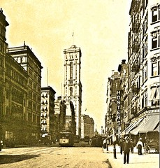 Metropolitan Opera House, Times Bldg and Hotel Astor looking north on Broadway at 39 St. NYC 1905 (SSAVE w/ over 7 MILLION views THX) Tags: newyorkcity manhattan 1905 streetscenes