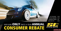 ST Coilover Consumer Rebate Starts May 1st! Best Prices on ST Suspension Components ALL YEAR! (vividracing) Tags: adjustable camberplate coilovers june kw lowering may rebate springs st suspension swaybars wholesale