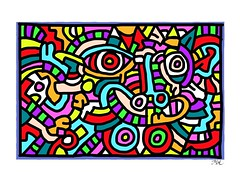 After Keith Haring, 1986 (Mal Booth) Tags: colour art reproduction keithharing ipad adobeideas